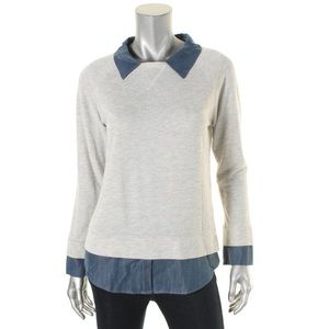 NWT Soft Joie Gray Denim Layered Top Sweater Small